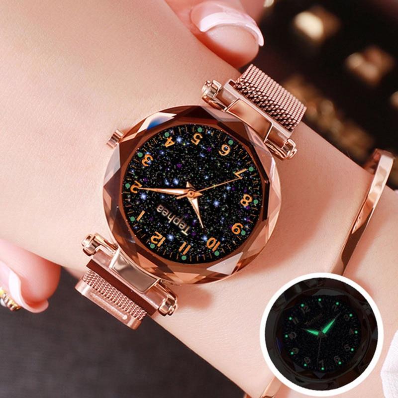 Luxury Rose Gold Women Watches 2019 Fashion Starry Sky Ladies Quartz Magnetic Clock Female Luminous Wristwatch relogio feminino