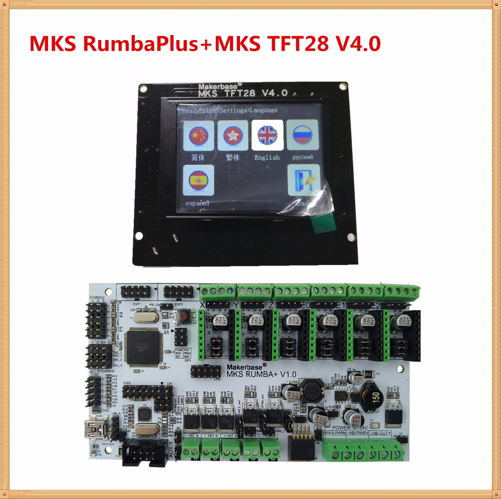 3D printer mother board MKS Rumba + MKS TFT28 v4.0 touch screen display LCD all in one board DIY kit controller card Rumba-board mks tft28 v1 1 3d printer smart touch screen controller