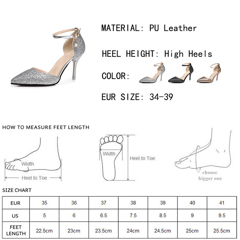 Lucyever Fashion Buckle Crystals Bling Pumps Women Elegant Thin High Heels Point toe Party Wedding Shoes Woman Glod Sliver Black 1