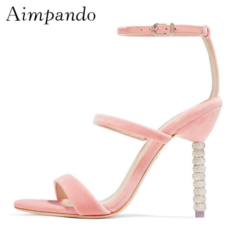 10cm Thin High Heels Women One strap Gladiator Sandals Women Pink Velvet Beading High Heels Summer