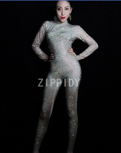 Bodysuit Stretch Leggings Nightclub Singer Dancer Super Rompers Sparkly Full Rhinestones Jumpsuit Women's Birthday Crystals