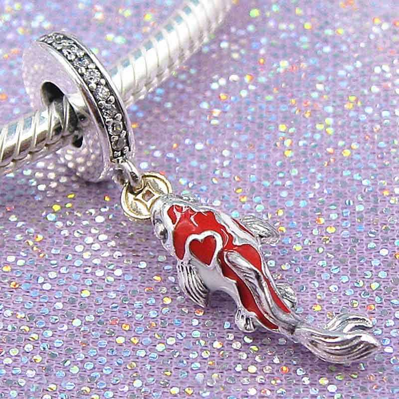 c35ab21af New 925 Sterling Silver Bead Charm Red And White Enamel Good Fortune Carp  Pendant Beads Fit