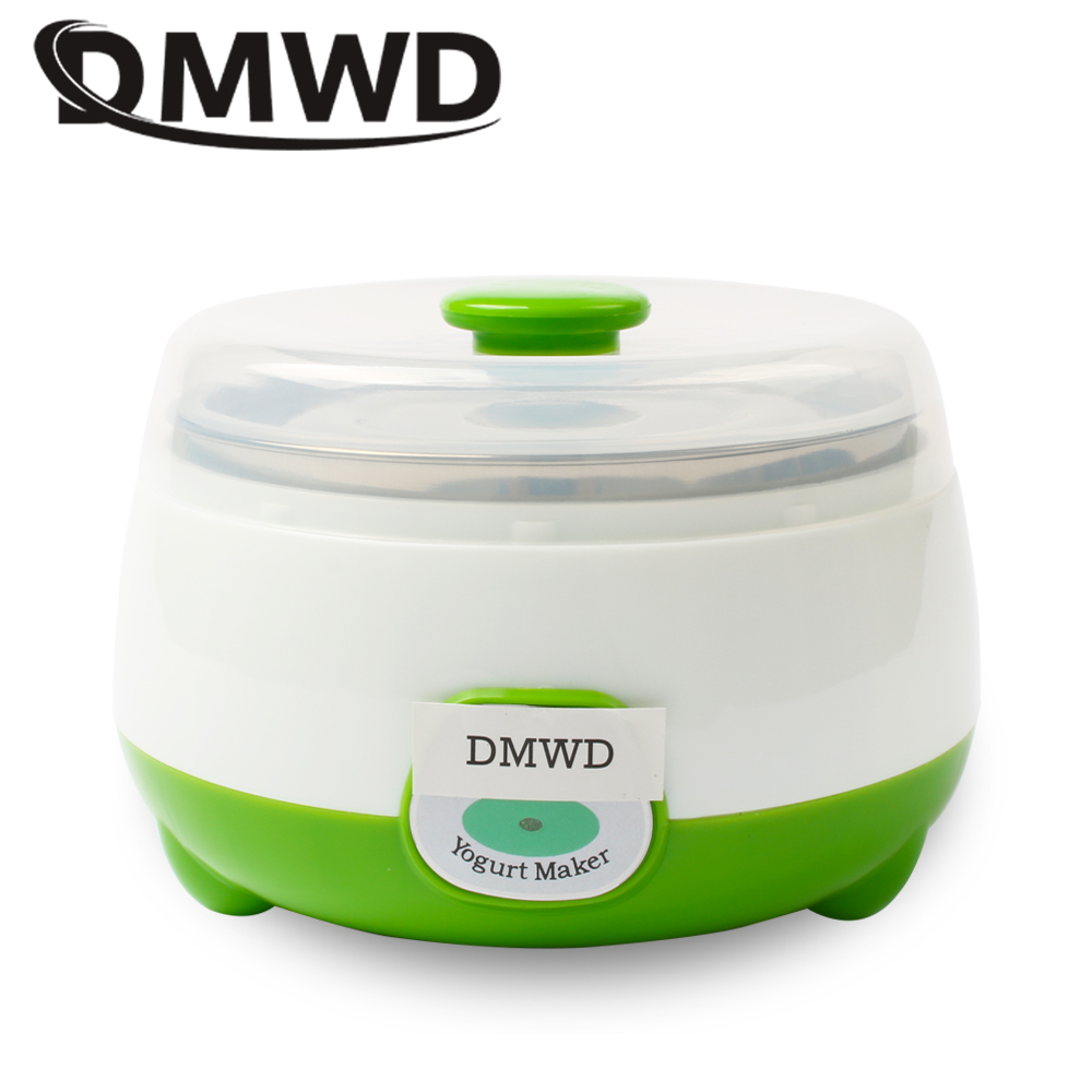 DMWD Automatic Electric Yogurt Maker 0.8L Stainless Steel Liner Container Natto Rice Wine Fermenter DIY Leben Yoghourt Machine