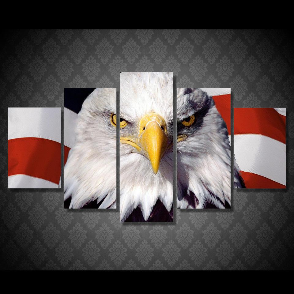 Moderne leinwand bilder amerikanische flagge und adler für büro raumdekoration neuen stil kunstwerkchina