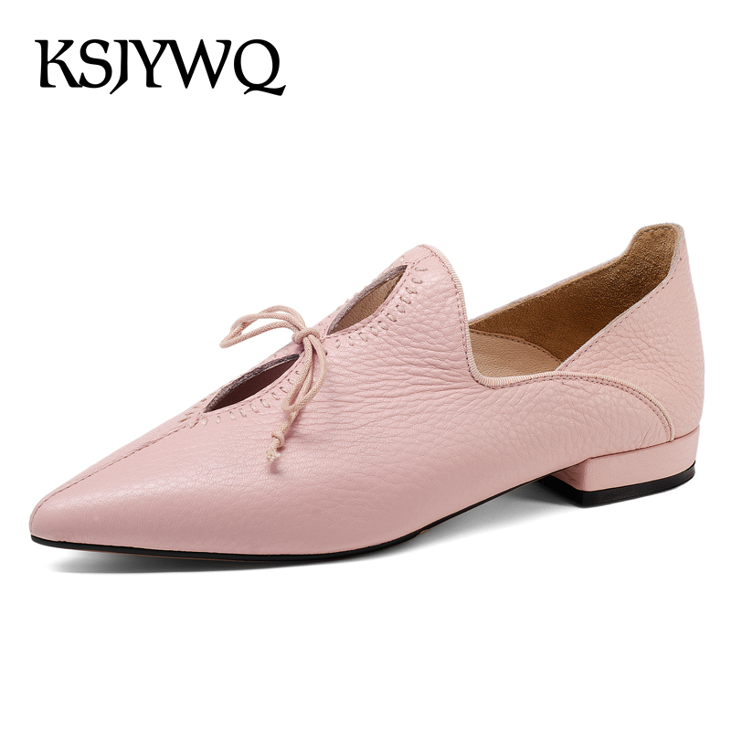 KSJYWQ Genuine Leather Women Shoes 1.5 CM Low Heels Pink Pumps Sexy Pointed-toe Summer Style Dress Shoes Woman Box Packing 3511 ksjywq plus size women red pumps slip on summer dress shoes 10 cm high heels sexy pointed toe woman stilettos box packing 1259 1