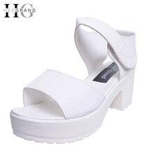 Hee Grand/Новые летние Peep-Toe женские босоножки платформа толстый каблук Летняя женская обувь Hook & Loop Универсальная обувь для дам XWZ835