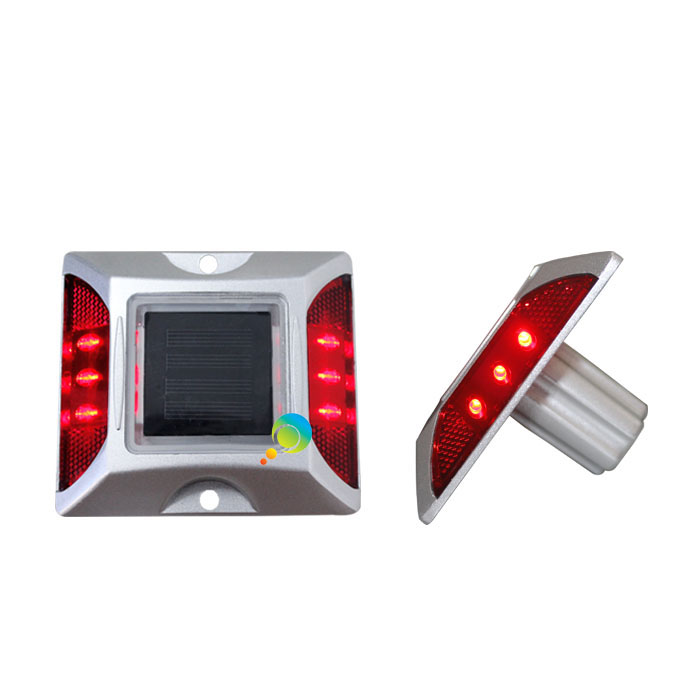 Waterproof Red LED Flashing Light Solar Power Cat Eye Road Stud Reflector