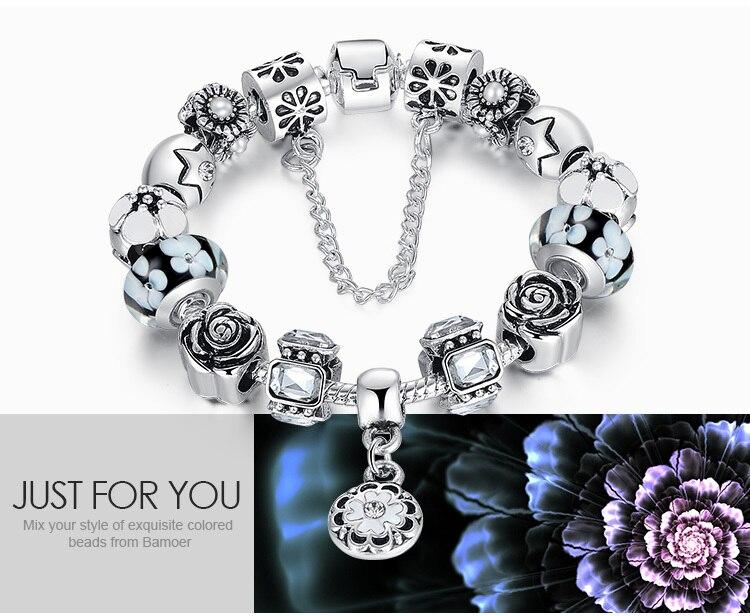 Silver Crystal Glass Bead Strand Bracelets