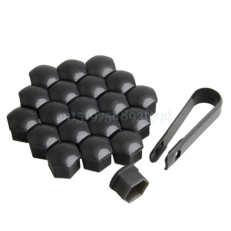 20Pcs Set 17mm Car Wheels Plastic Nuts with Screw Cap Removal Tools for VW AUDI T518