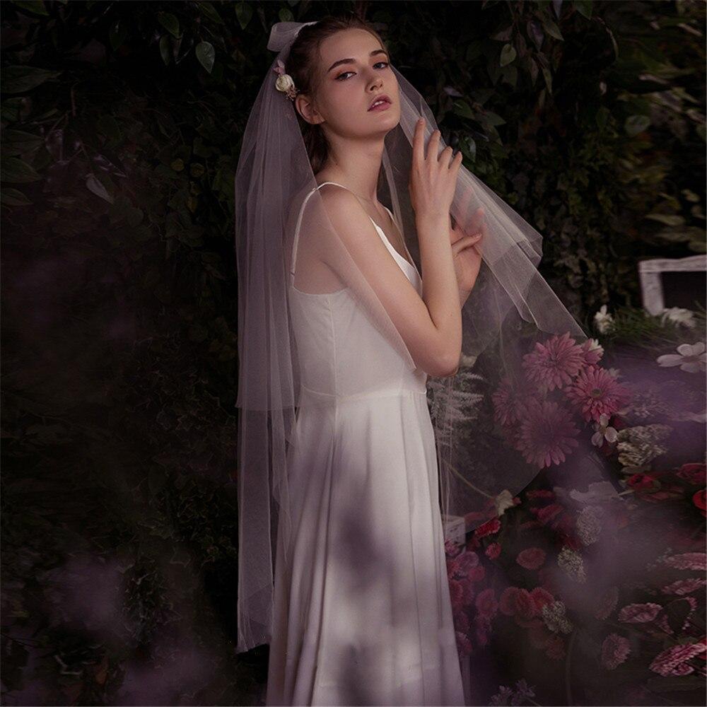 2019 Bridal Wedding Veils Short Vintage Bow With CombTulle Veils For Brides White Ivory Voile De Mariage  Velo De Novia Courte