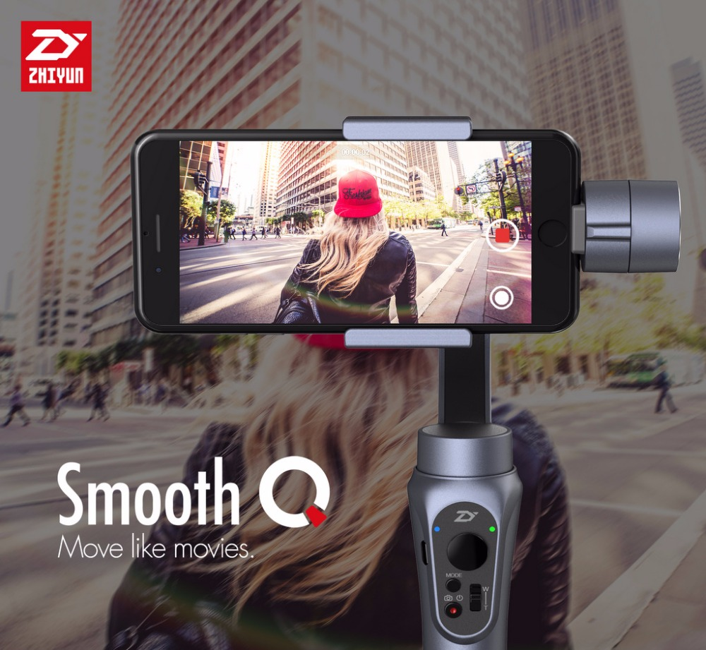 Zhiyun Smooth Q Smartphone 3 Axis Handheld Gimbal Action camera gimbal stabilizer For iPhone Samsung S7 S6 Gopro 3 4 5