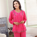 Autumn & Spring Women Pajama Sets Cotton L-2XL Long Sleeve  Warm Women'S Sleep & Lounge Plus Size Loose Female Suit