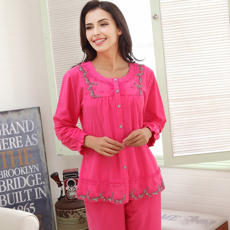 Autumn & Spring Women Pajama Sets Cotton L-2XL Long Sleeve Warm Women'S