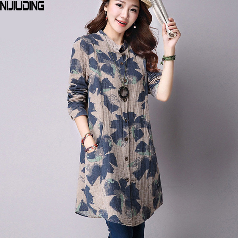 NIJIUDING Spring New Fashion Floral Print Cotton Linen Blouses Casual Long Sleeve Shirt Women Top With Pockets
