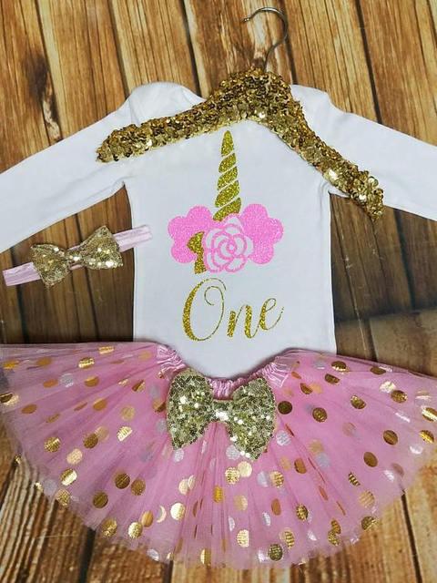 8e9548d0b4ff customize name glitter 1st unicorn first birthday bodysuit onepiece Tutu Dress  romper Outfit Set baby shower