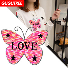 GUGUTREE embroidery big buttlefly patches animal badges applique for clothing XC-42