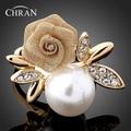 Free Shipping Austrian Crystal 18 K Gold Plated Rings Jewelry Wholesale Elegant Fashion Imitation Pearl Flower Rings For Women