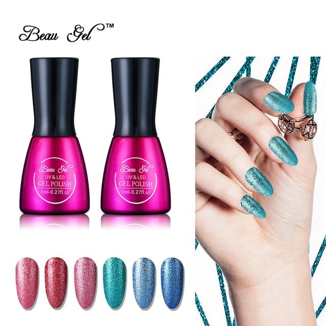 Beau Gel 7ml/pc Super Bling Effect UV Gel Nail Polish Semi Permanent ...