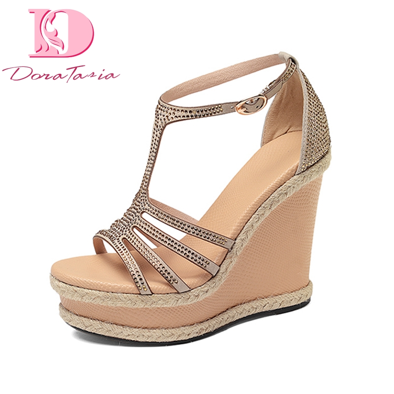 Doratasia 2018 Brand Design t-strap Sheepskin Platform Summer Sandals Shoes Woman Sexy Wedge High Heels Crystals Women Sandals trendy splicing women s sandals with t strap and bowknot design