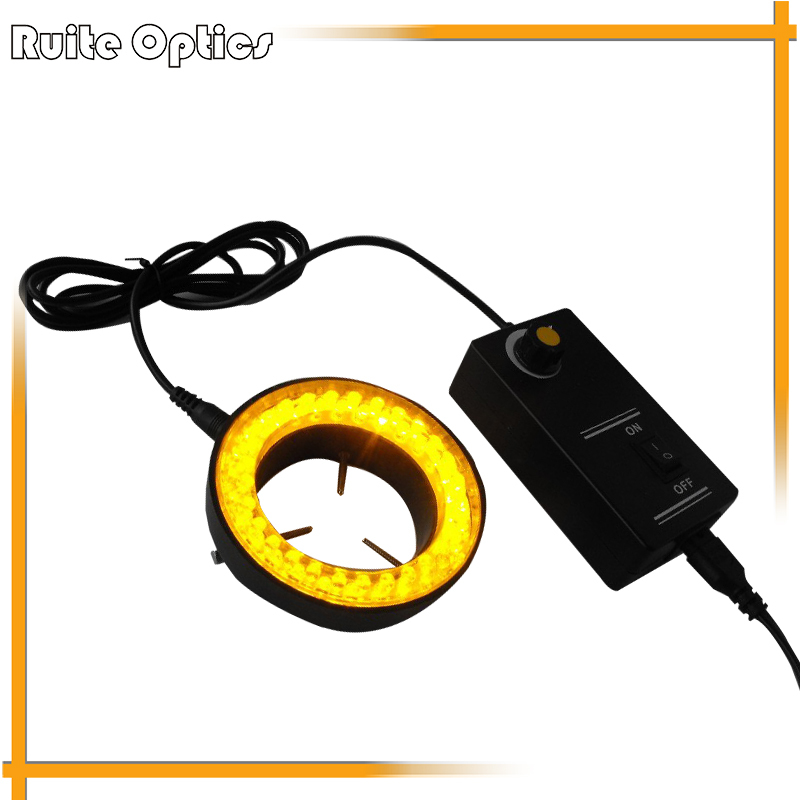 60 Led Ring Lamps Yellow  Fluorescence Light Stereo Biological Zoom Stereo Microscope Illuminated Accessory 220V or 110V Adapter 60pc green led microscope light source stereo microscope ring light lamp with adapter 220v or 110v