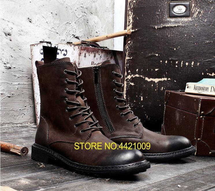 Lace Up Genuine Leather Mens Boots Ankle Martin Boot Vintage Work Boots Side Zipper High Top Height Increasing Casual ShoesLace Up Genuine Leather Mens Boots Ankle Martin Boot Vintage Work Boots Side Zipper High Top Height Increasing Casual Shoes