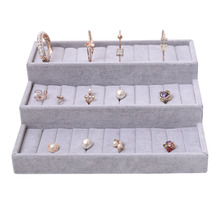 Velvet Jewelry Tray Ring Display Box Showcase Earring Case Holder Holder Storage Organizer Cufflinks Jewelry Insert Storage Box