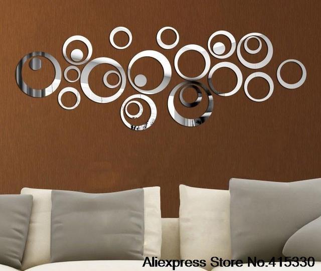24 pcs Diy 3d casa decoração da parede tv vara decoração da parede espelho adesivos