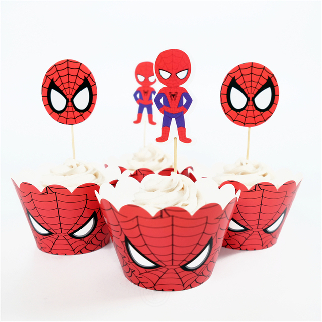 24pcs Spider Man Superhero Avengers Wedding Cupcake Wrappers Favors Toppers Picks Liners Cases