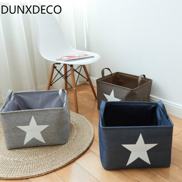 dunxdeco home office storage container laundry basket modern nordic star linen cotton box decoration
