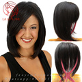 12 inch Короткие Прямые БОБО Женщины конский волос Парик 100% Человеческих волос системы Топпер remplacement capillaire волосы интеграции 13*14 см