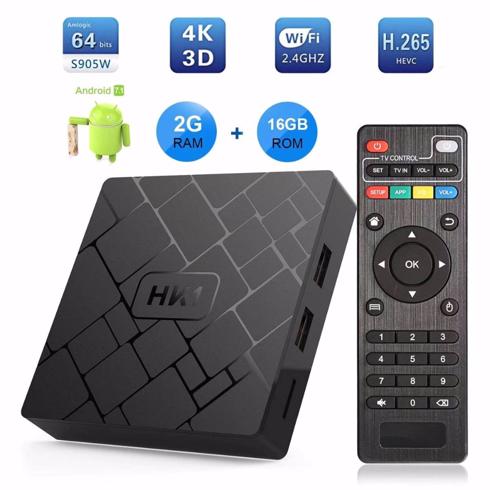 HK1 Smart TV box S905W Quad core 2g Ram 16g Rom Android 7.1 WIFI 3D 4 k HDR h.265 OTT TV BOX TV Set-Top Box PK X96 MINI