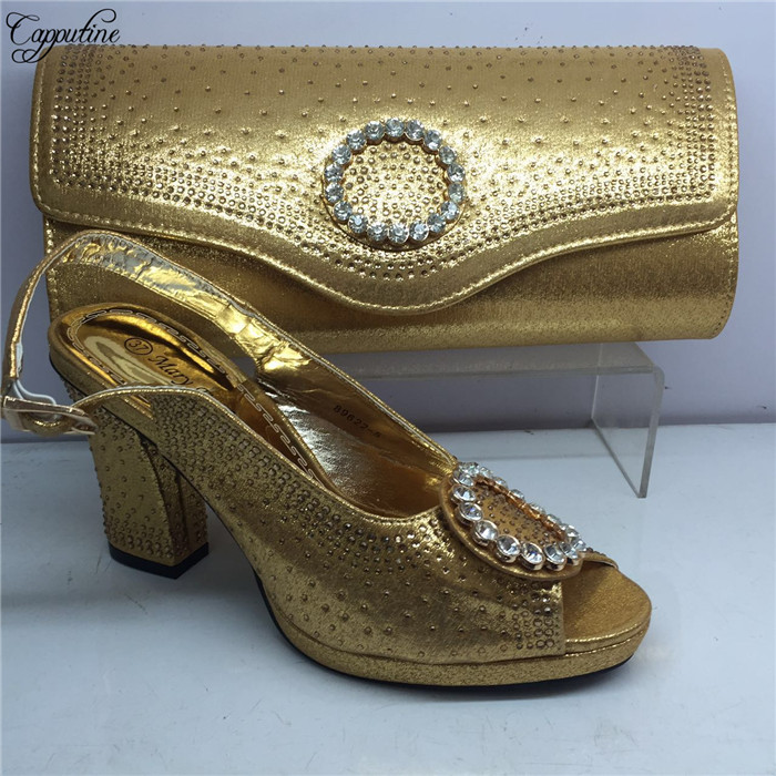 Fashion gold African high heel sandal shoes and purse handbag set for lady GY35, heel height 7cmFashion gold African high heel sandal shoes and purse handbag set for lady GY35, heel height 7cm