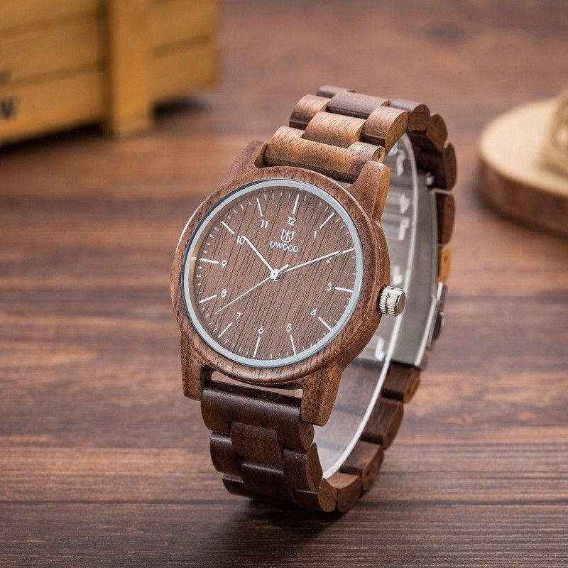 все цены на UWOOD Vintage Walnut Mens Wooden Watch Natural Wood Watch for Men Christmas Gift