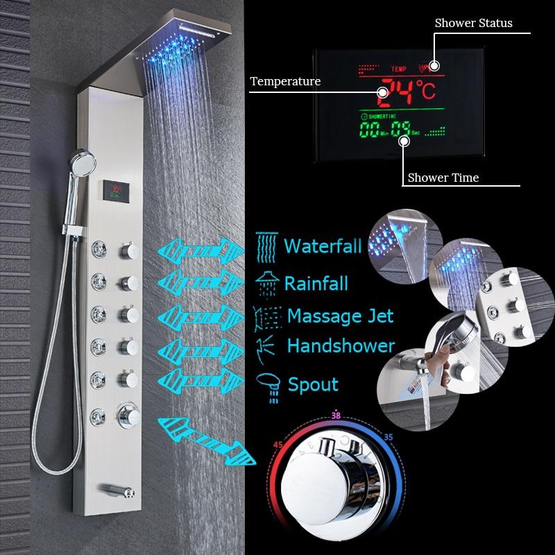 HTB164doafvsK1Rjy0Fiq6zwtXXaL - Newly Luxury Black/Brushed Bathroom Shower Faucet LED Shower Panel Column