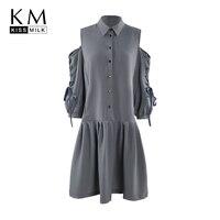 Kissmilk 2018 Plus Size Knee Length Women Dress Turn Down Collar Off Shoulder Three Quarter Sleeve