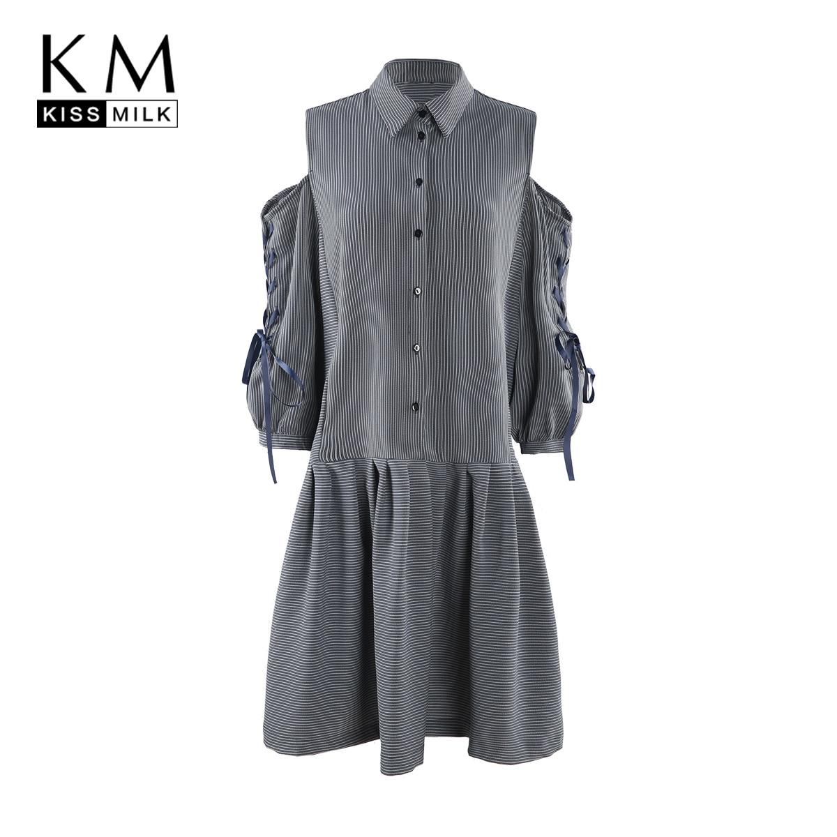 kissmilk 2018 Plus Size Knee Length Women Dress Turn Down Collar Off Shoulder Three Quarter Sleeve Button Plaid Big Size Dress plus size inclined button hankerchief dress