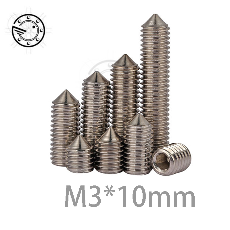 все цены на  100Pcs M3 Stainless Steel Allen Head Hex Socket Grub Screw Bolts Nuts Fasteners with Cone Point Screws M3*10 mm m3x10mm  онлайн