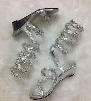 YUE JABON Summer Flats Sandal Gladiator Rhinestone Knee High Slip On Woman Boots Bohemia Style Crystal Beach Wedge Shoes