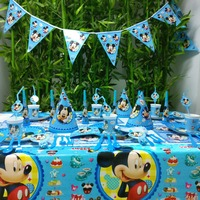78pcs/set Mickey Mouse Kids Birthday Party Decoration Party Supplies Cup Plate Banner Hat Blowout Straw Gift Bag Forks