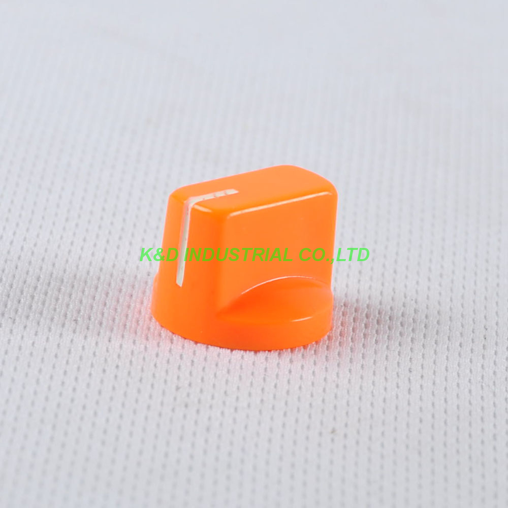 10pcs Colorful Orange Rotary Volume Control Plastic Potentiometer Knob Knurled Shaft Hole