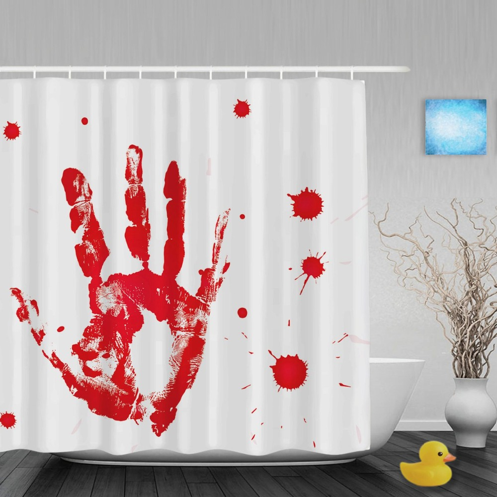 Halloween shower curtain hooks - Blood Of A Hand Palm Printed Shower Curtain Funny Halloween Bathroom Shower Curtains Waterproof Polyester Fabric With Hooks