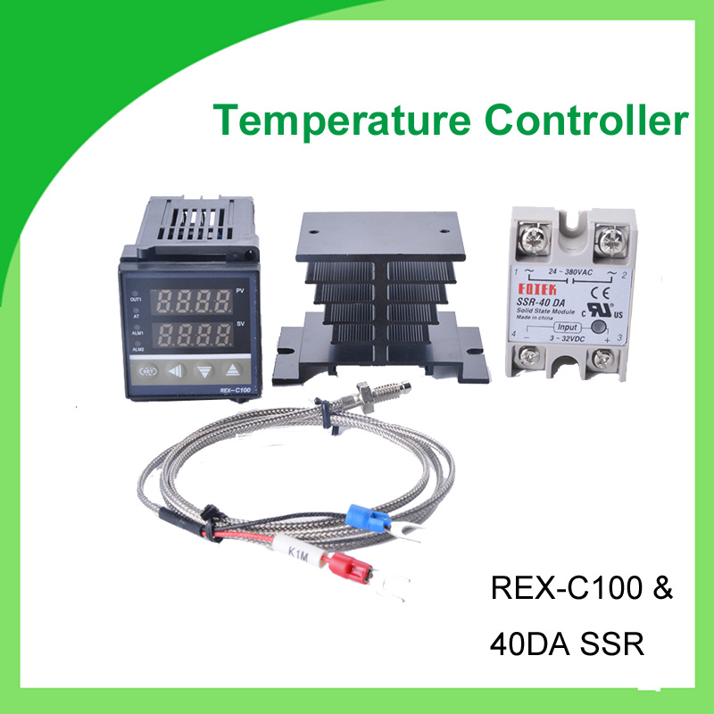 REX-C100 REX C100 thermostat + 40DA SSR Relay+ K Thermocouple 1m Probe RKC Digital PID Temperature Controller 1kits digital adjustable pid temperature controller panel thermostat pc410 rex c100 max 40a ssr relay k thermocouple probe