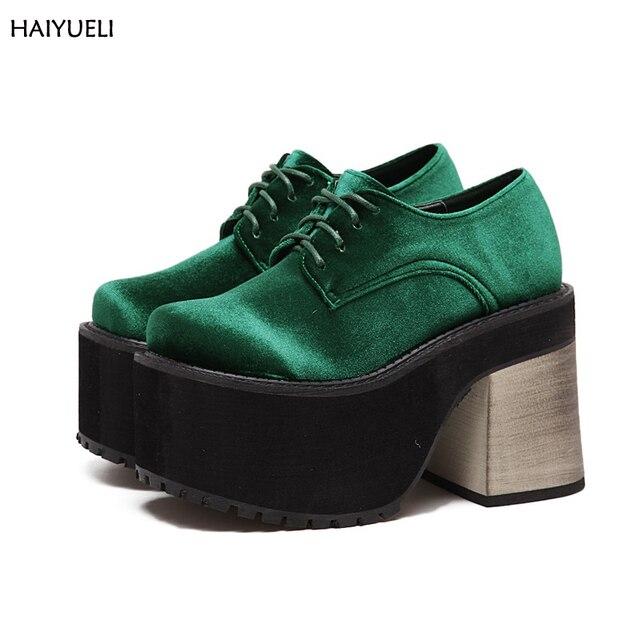 cc85466ef9645 Buty damskie moda Punk Rock platforma obcasy buty do kostki zielony gruby  obcas buty w stylu