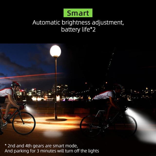 4000 mAh Inteligente Indução Luz Da Frente Da Bicicleta Conjunto USB Recarregável 800 Lumen LED Head Light com Chifre Da Bicicleta Lâmpada Ciclismo lanterna 3