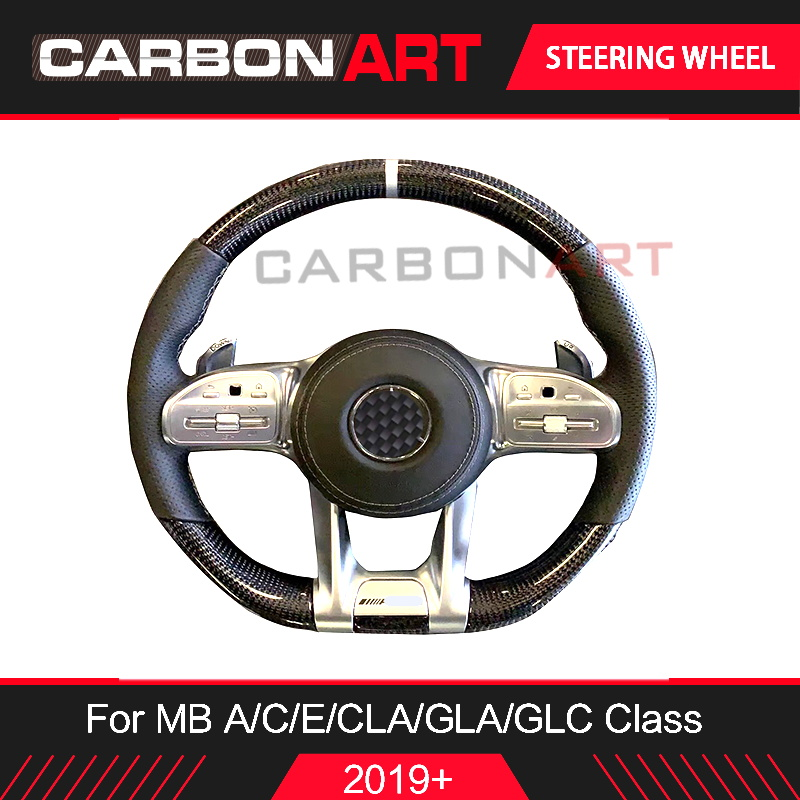 2019 W205 auto parts Carbon fiber steering wheel for Mercedes A C class AMG A200L W177 new A class E53 GLC CLS GLE class upgrade