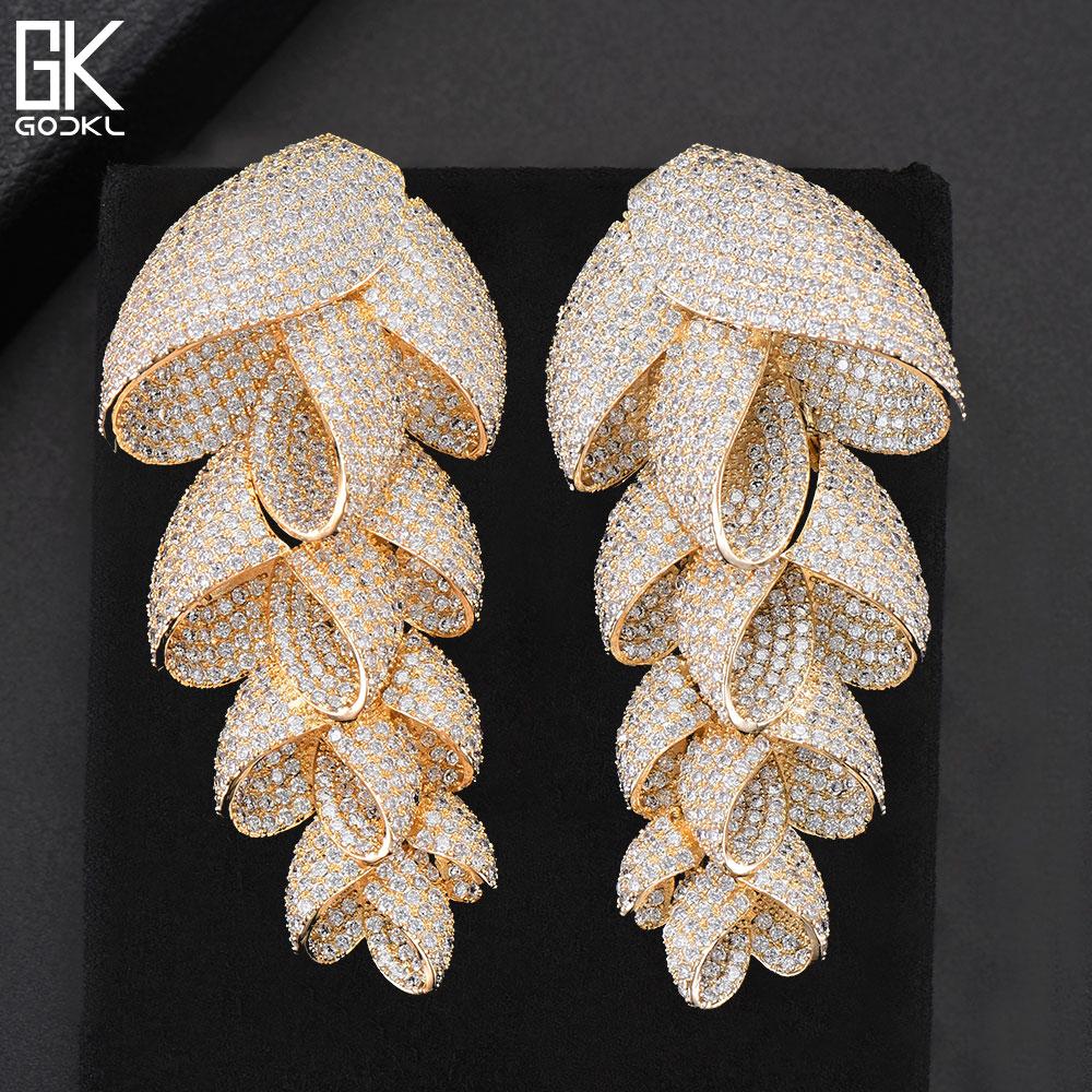 GODKI 73mm Trendy Luxury Feather Leaf Nigerian Long Dangle Earrings For Women Wedding Zircon Crystal African Gold Bridal Earring leopard feather dangle earrings