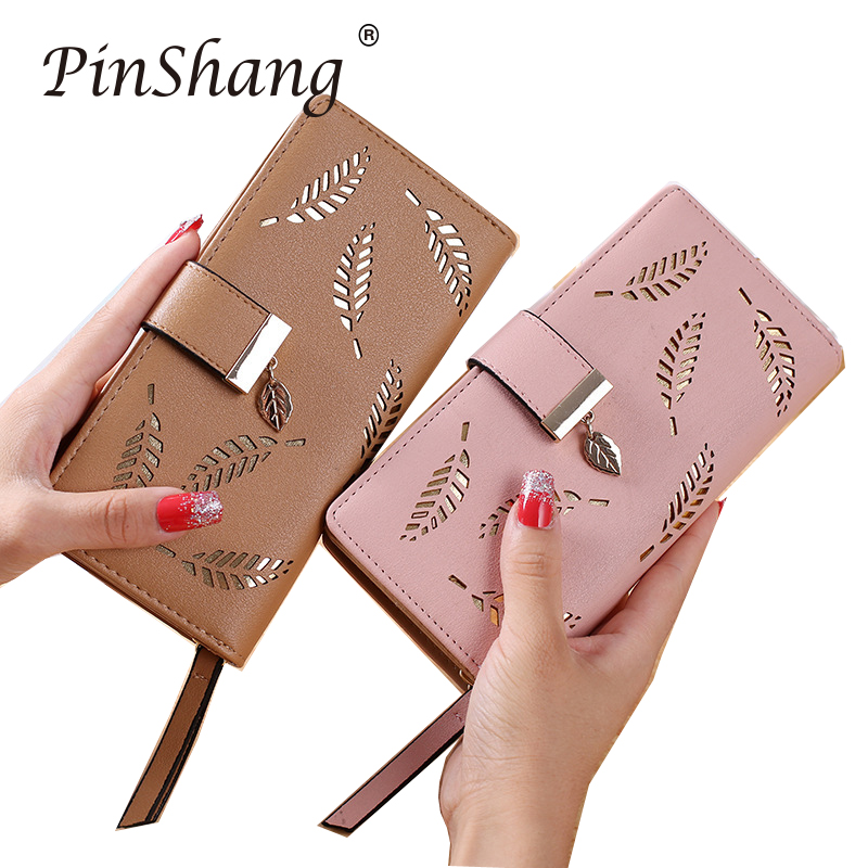 Women Wallet PU Leather Purse Female Long Wallet Gold Hollow Leaves Pouch Handbag For Women Coin Purse Card Holders Clutch zk30(China)