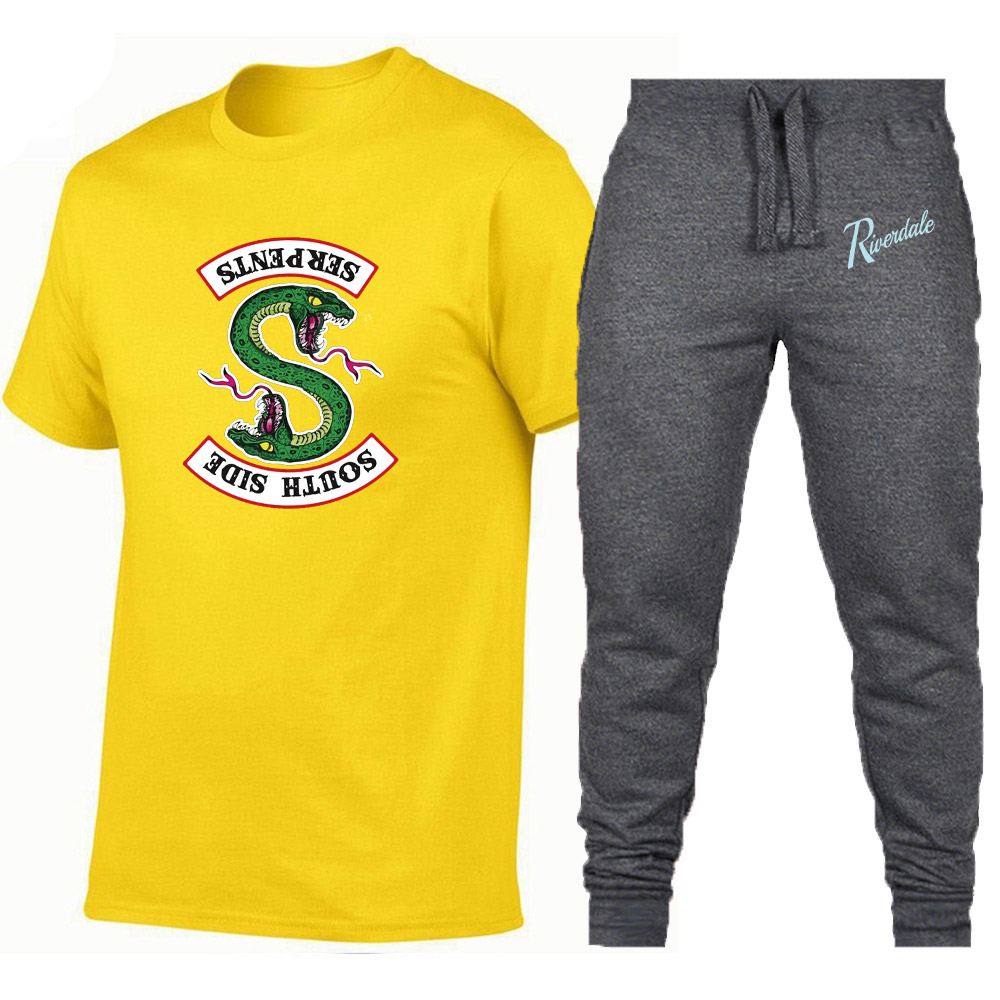 Summer Hot Sale South Side Serpents Men/Women Sets T Shirts+Pants Two Pieces Sets Male/Womens T Shirt Gyms Fitness Trousers
