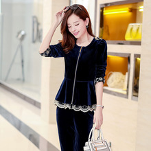 Spring and Autumn large yards L-5XL ladies  velvet suit sportswear gold lace stitching Free shipping