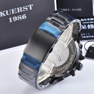 Image 5 - 2019  New Mens Large Dial Sports Watch Multi time Zone Display Military Watch Men Luxury Brand KUERST Waterproof Quartz Watch